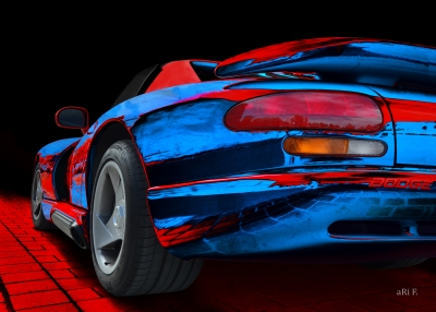 Dodge Viper GTS-R in blue & red Poster