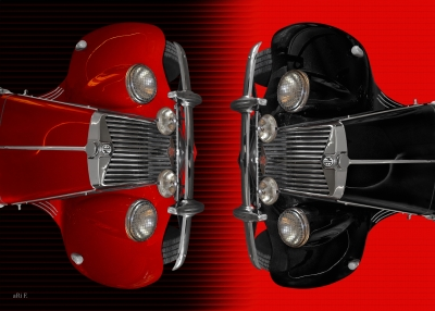 MG Midget TF Poster in black & red doubles