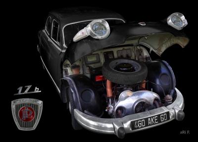 Panhard PL 17 mit 848 ccm 2-Zylinder Viertakt Boxermotor black Poster