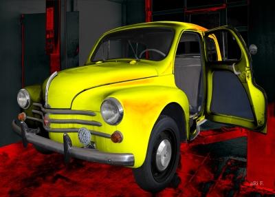 Renault 4CV Heck Oldtimer Poster kaufen