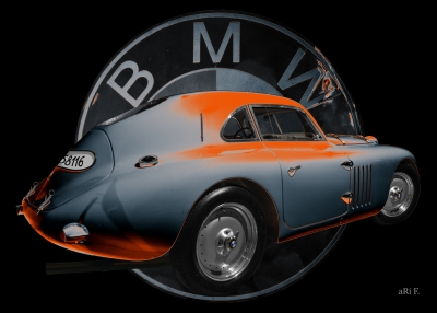 BMW 328 Touring Coupé Le Mans Poster orange