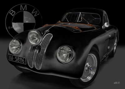 BMW 328 Touring Coupé Le Mans Poster in black