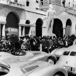 Die BMW 328 Mille Miglia Wagen bei der Abnahme in Brescia zum I. Gran Premio Brescia delle Mille Miglia (28.04.1940)