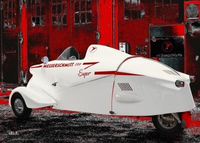 Messerschmitt KR 200 Super Rekordfahrzeug Poster in white & red