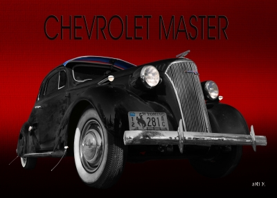 Chevrolet Master Business Coupe 1937 in black & red