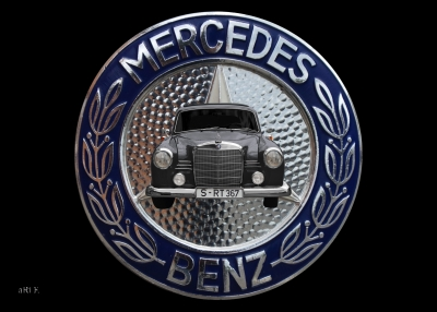 Mercedes-Benz 190 Db Ponton Poster mit Mercedes Logo in Originalfarbe