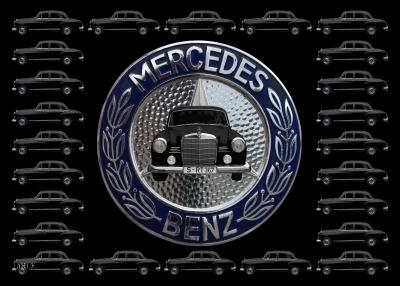 Poster Mercedes-Benz 190 Db Ponton W 121 mit Mercedes-Logo