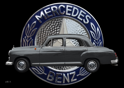 Poster Mercedes-Benz 190 Db Ponton mit Mercedes Logo in Originalfarbe
