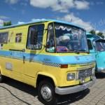 Oldtimer Wohnmobile in Reih und Glied beim Hymer Museumsfest 2017