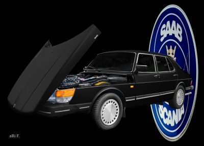 Saab 900 Limousine Poster in black