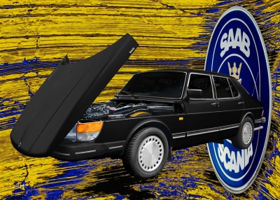 Saab 900 Limousine Poster Classic Car for sale