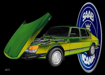 Saab 900 Limousine Art Car Poster