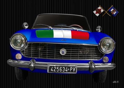 Fiat 1500 Spider mit Italien Flagge