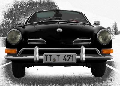 VW Karmann-Ghia Typ 14 Poster in black graphit