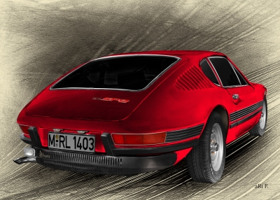 VW SP2 Heckansicht Poster in old red
