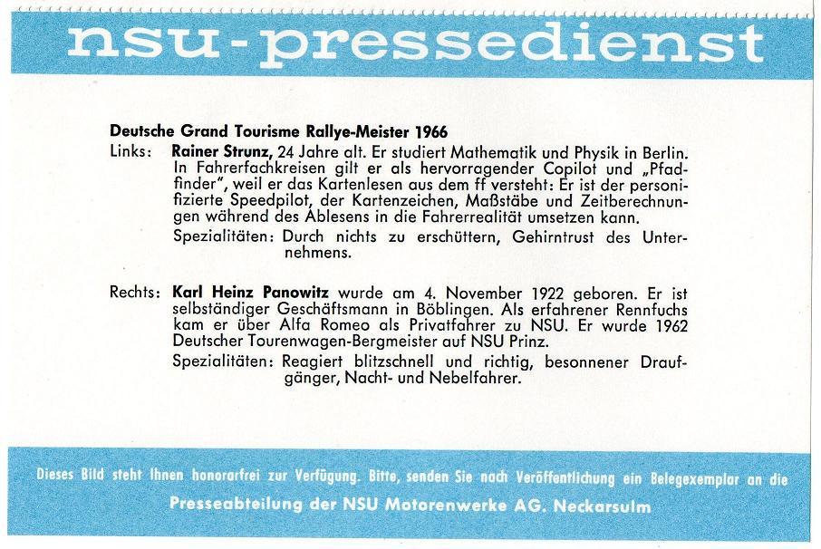 NSU Pressedienst Rallye-Meister 1966 mit Panowitz und Strunz