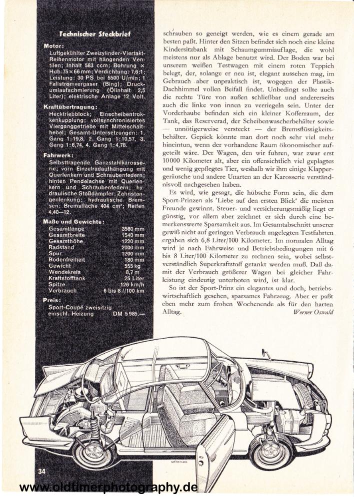 NSU Sport-Prinz Test Seite 5, Datum unbekannt
