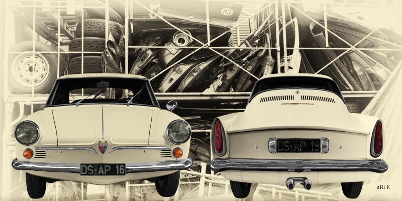 NSU Sport Prinz (1959-1962) Poster in Front- und Heckansicht