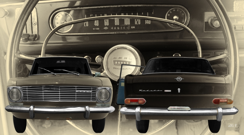Opel Kadett A Coupé double view in antique art Panorama Poster