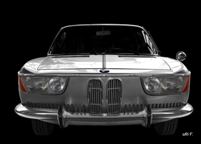 BMW 2000 CS in black & silver metalic front view