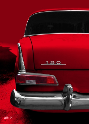 Poster Mercedes-Benz W 110 Heckdetail Poster in red color