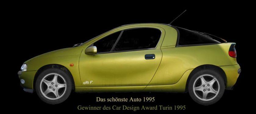 Opel Tigra Poster - Das schönste Auto 1995 - Gewinner des Car Design Award Turin 1995