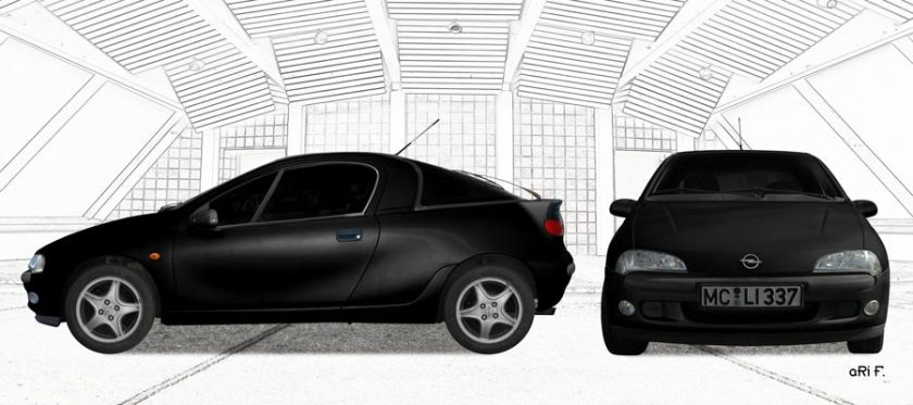 Opel Tigra Poster double view in black graphit
