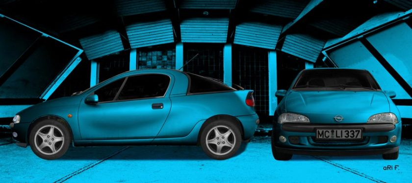 Opel Tigra Poster double view with blue colors