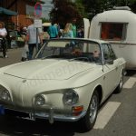 VW Karmann Ghia Typ 34 mit Fathi Wohnwagen Originalfoto