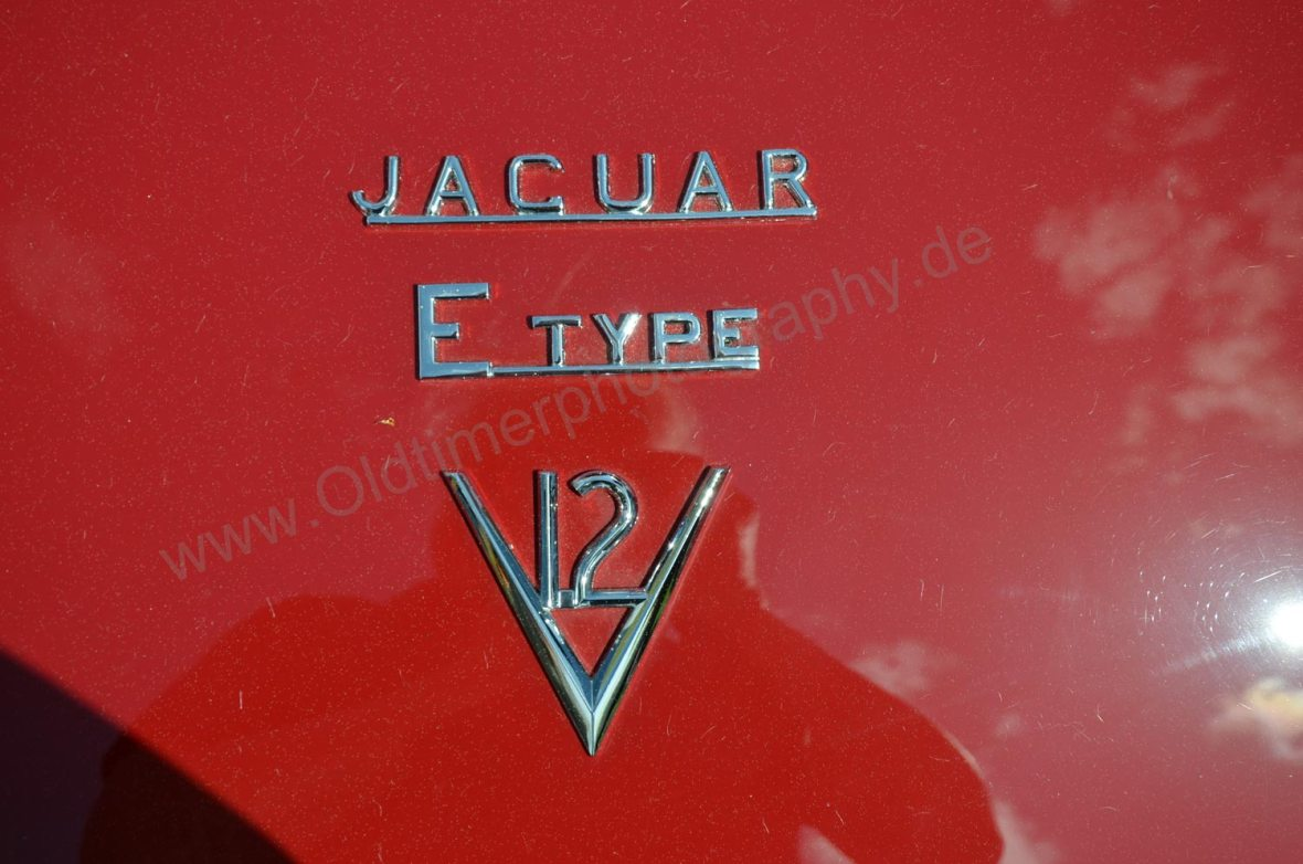 Logo Jaguar E-Type Series III Roadster am Heck angebracht