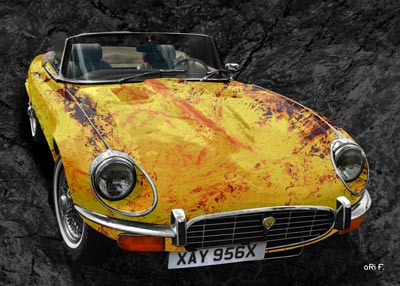 Jaguar E-Type Serie 3 Roadster Art Car Poster in yellow stone