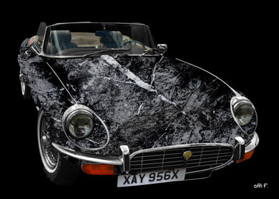 Jaguar E-Type Serie 3 Roadster in black & grey stone
