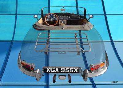 Jaguar E-Type Roadster Series I Poster on blue windows