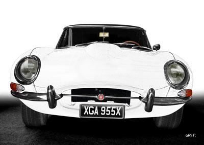 Jaguar E-Type Serie 1 Poster in graphit