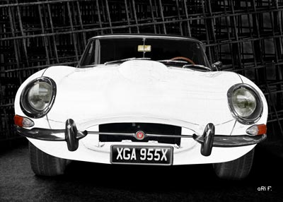 Jaguar E-Type Serie 1 Poster in dark graphit