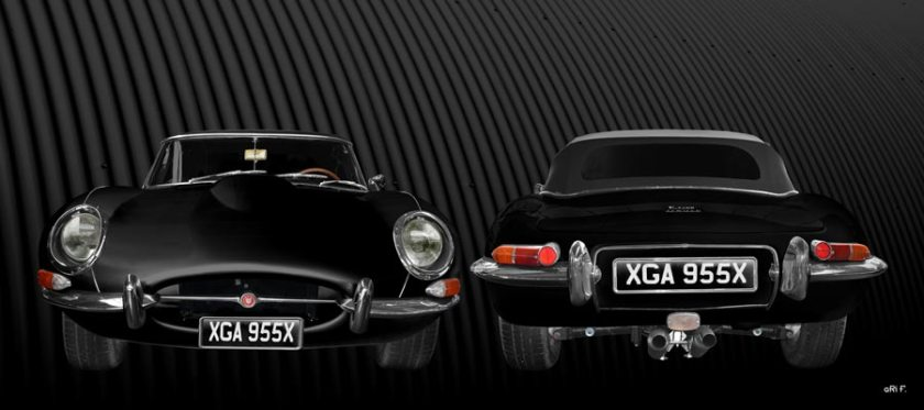 Jaguar E-Type Series I Poster in black double view