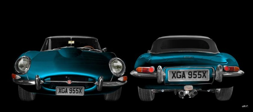 Jaguar E-Type Series I Poster in blue double view