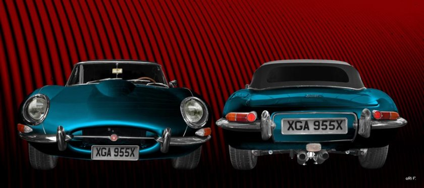 Jaguar E-Type Roadster Series I Poster in blue double view