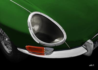Jaguar E-Type Serie 1 Poster in racing green