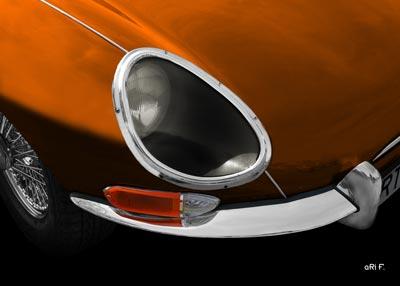 Jaguar E-Type Series I in copper detail view