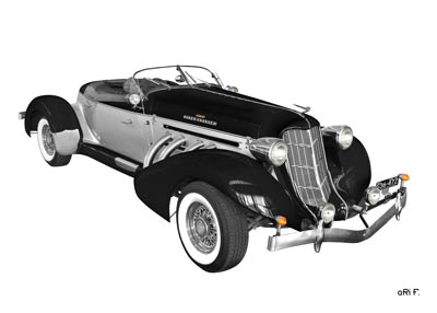 1936 Auburn 852 Supercharged Speedster in black & white