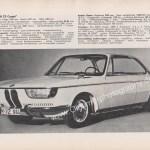 BMW 2000 CS technisches Merkblatt mit serienmäßigen Lackierungen