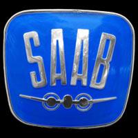 Logo Saab 96 noch mit stilisiertem Flugzeug auf Kühlergrill