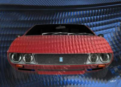 De Tomaso Mangusta Poster in experimental red & blue