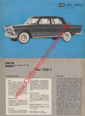 Fiat 1500 Sammelblatt aus hobby Zeitung von 1964
