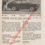 Fiat 850 Coupé technisches Datenblatt aus 1960er Jahre