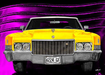 1970 Cadillac DeVille Convertible Poster yellow & pink