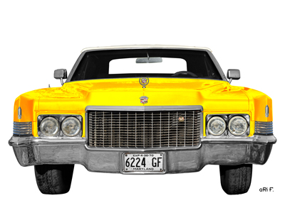 1970 Cadillac DeVille Poster in yellow & white