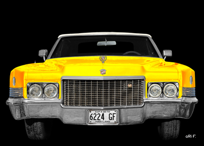 1970 Cadillac DeVille Convertible yellow & black