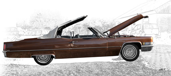 1970 Cadillac DeVille Convertible side view (original color)